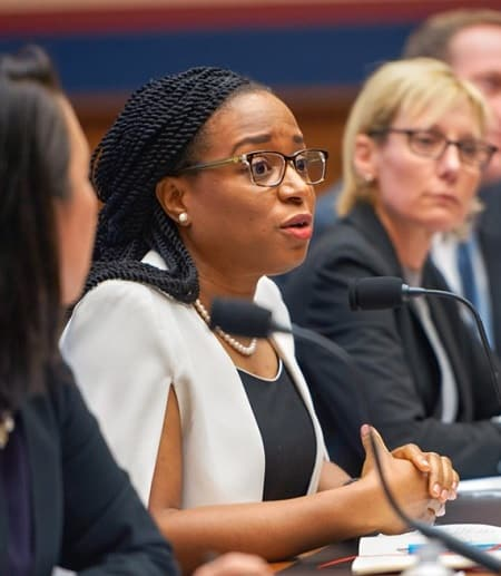 Ifeoma Ajunwa, second from left, testifies in front of the U.S. House of Representatives Committee on Education and Labor Feb. 5 in Washington, D.C.
