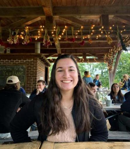 girl at outside restaurant